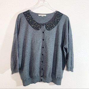 LOFT Charcoal Gray Embellished Collar Cardigan, XL